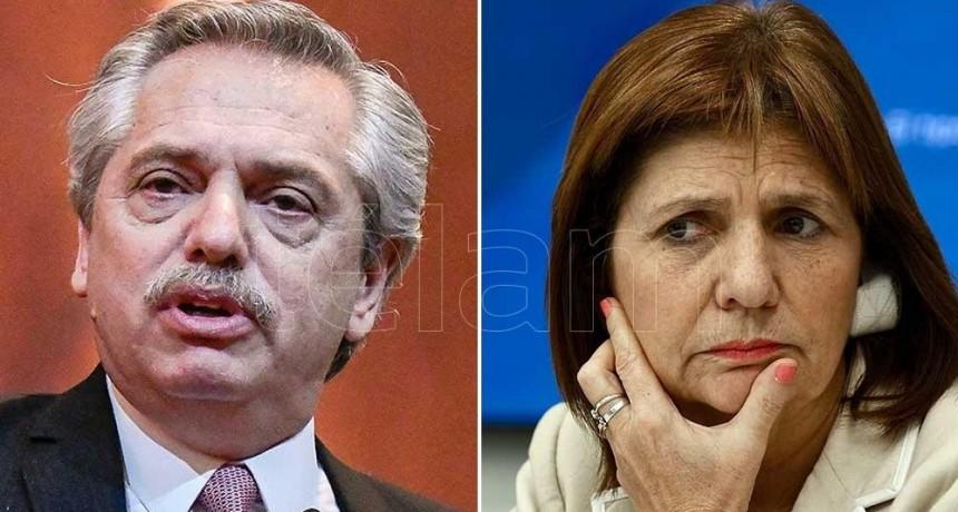 Duro cruce en redes entre Alberto Fernández y Patricia Bullrich por temas de seguridad